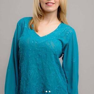 Handmade Sequined Embroidered Indian Blouse